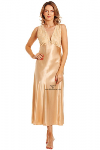 Muted Gold Satin and Lace Long Nightdress Chemise with Built Up Shoulders - Sizes UK 10 to 28